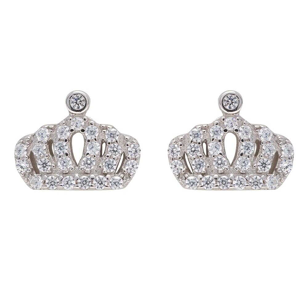 Danish Collection Silver Stud Crown Earrings