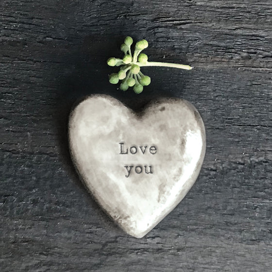 rustic small porcelain grey heart token - love you