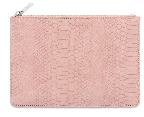 Estella Bartlett Blush Snake-Effect Medium Pouch
