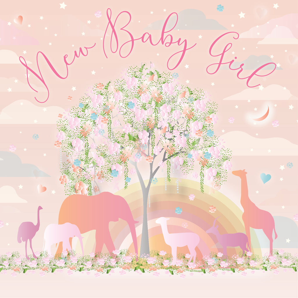 five dollar shake new baby girl card with jungle animals in pale pink and yellow and rainbow and coloured tree