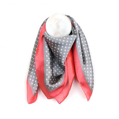 Grey Dotty Pink Border Silky Scarf
