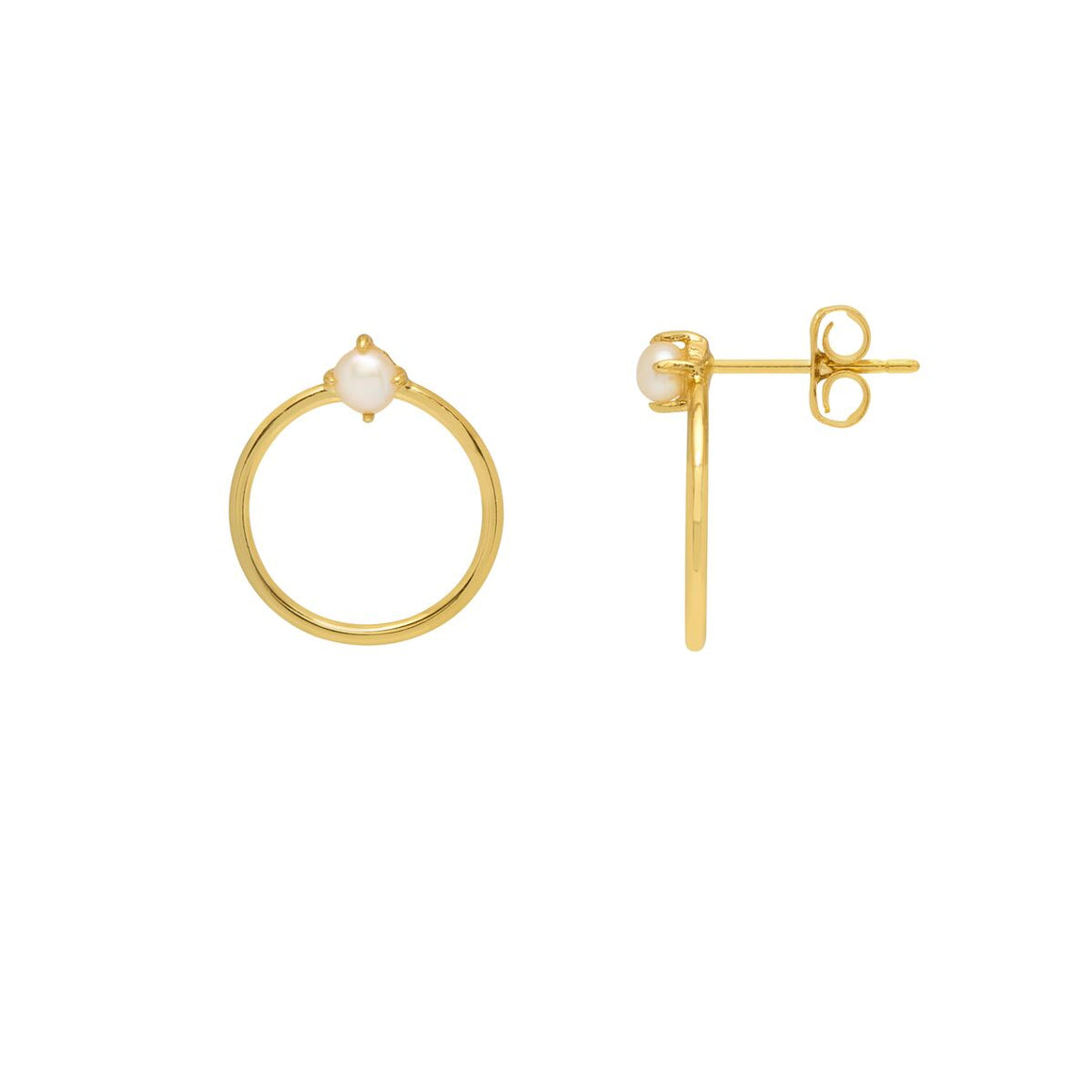 Estella Bartlett Pearl And Circle Earrings Gold Plated