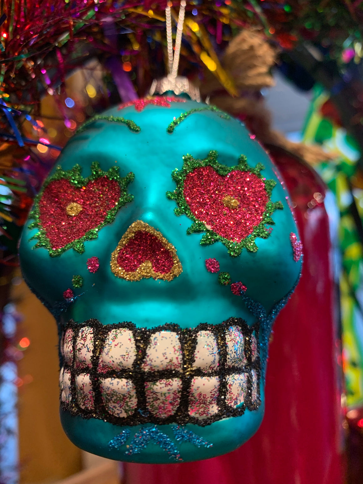 Turquoise Skull Christmas Decoration