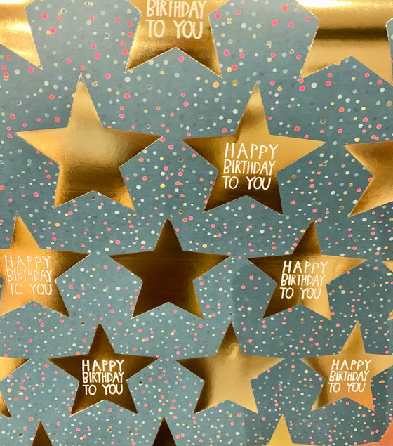Happy birthday Gold Stars Wrapping Paper