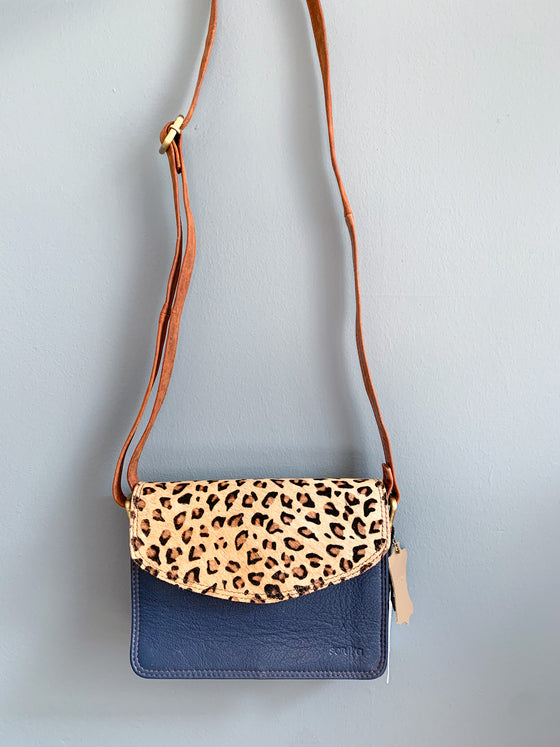 Soruka Virtue Half Leopard Print Navy And Black Leather Bag