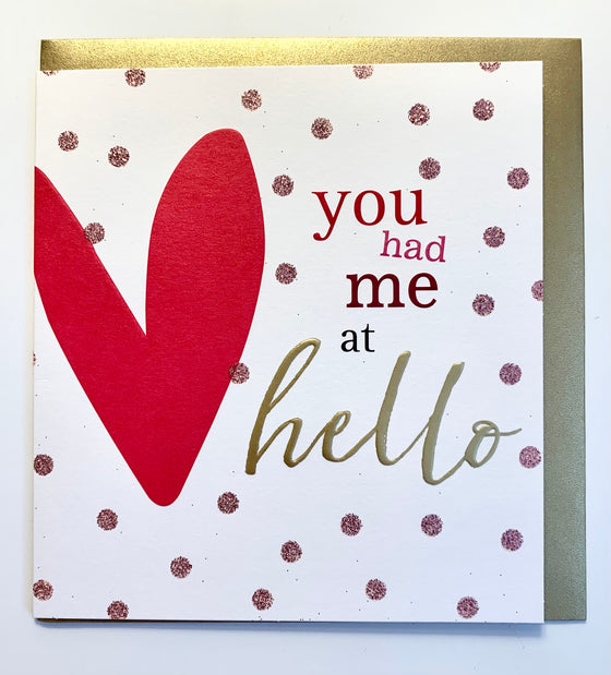 caroline gardner valentines card with red heart gold spots you had me at hello