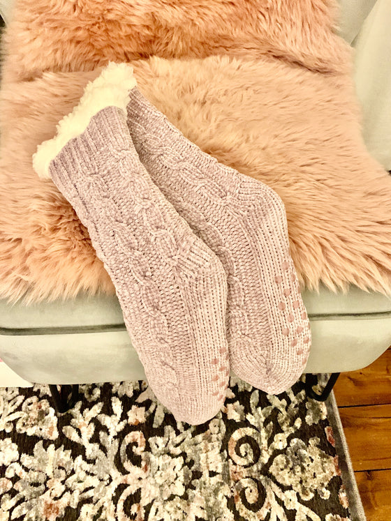 Blush Chenille Cosy Slipper Socks