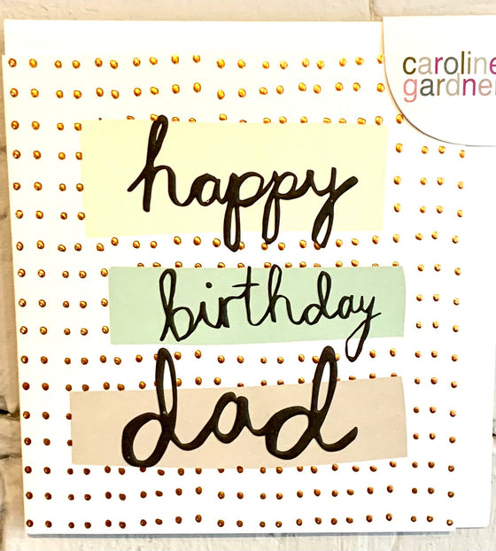 caroline gardner cream card happy birthday dad in black,