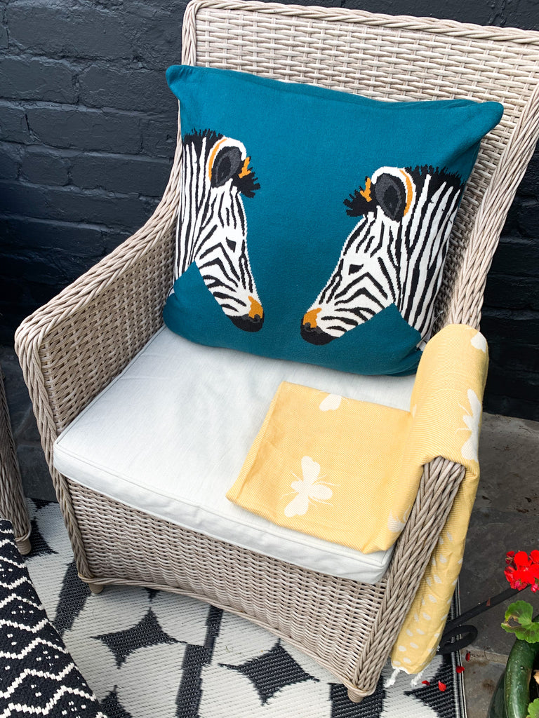 Sophie Allport Zebra Knitted Cushion