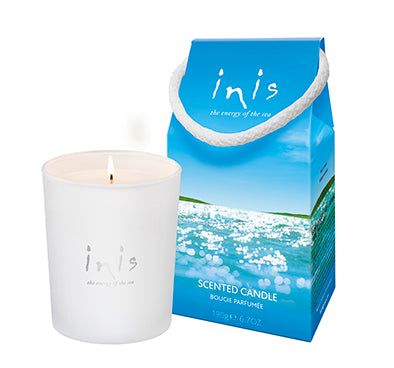 inis scented candle frosted white vessel with inis inscripted on