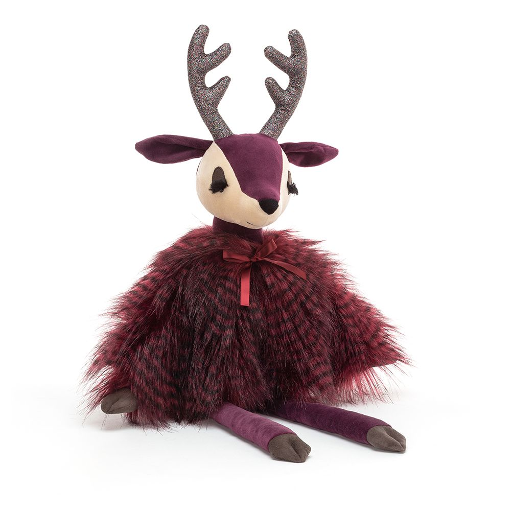 Velvety plush plum fabric reindeer with a fluffy speckled cape and sparkly antlers