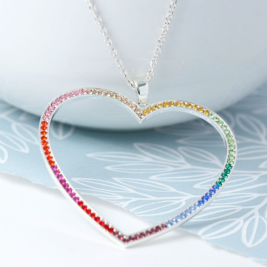 Rainbow Silver Plated Open Heart Necklace