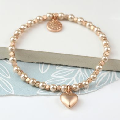 Matt Rose Gold Heart And Champagne Gold Bead And Pearl Bracelet