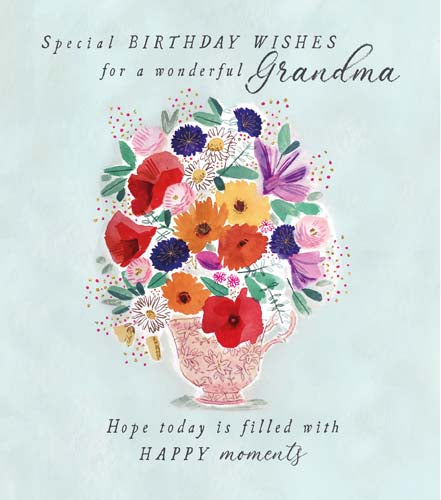 special birthday wishes for a wonderful Grandma. Hope today is filled with happy moments. message inside reads: happy birthday with lots of love