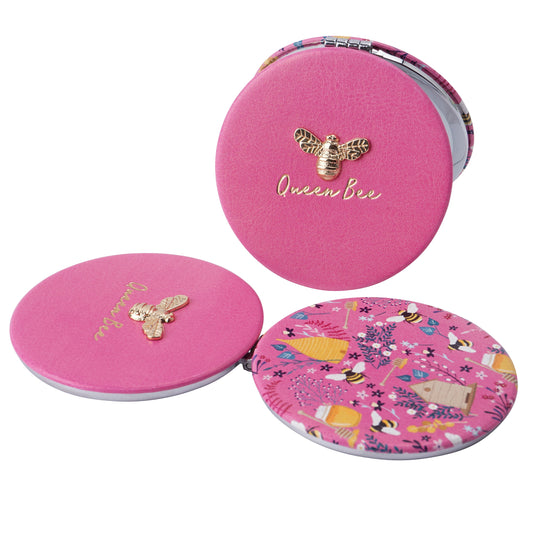 Pink Bee Compact Mirror - Queen Bee