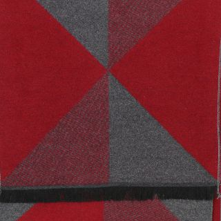 Men's red and grey triangle soft winter scarf
