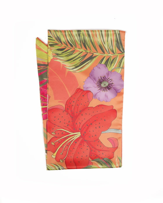 bright orange jungle printed neck scarf measuring 180cm x 24cm features tropical jungle print flowers and leaves