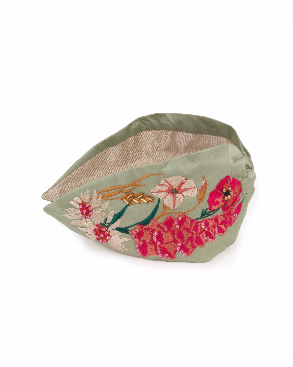 satin modal mint embroidered headband with  bright coral flowers