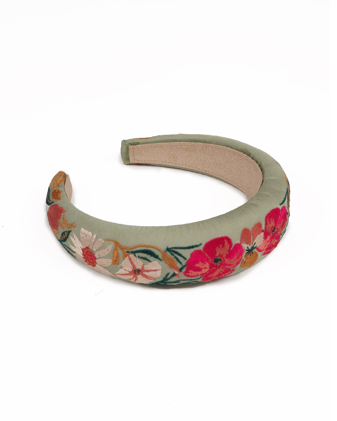 mint satin modal padded headband with coral and white embroidered flowers