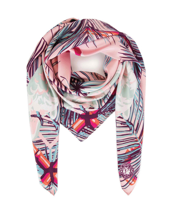 Powder Cockatoo Satin Square Scarf