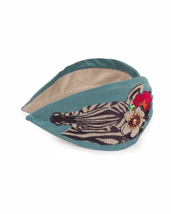 satin modal floral zebra embroidered headband teal