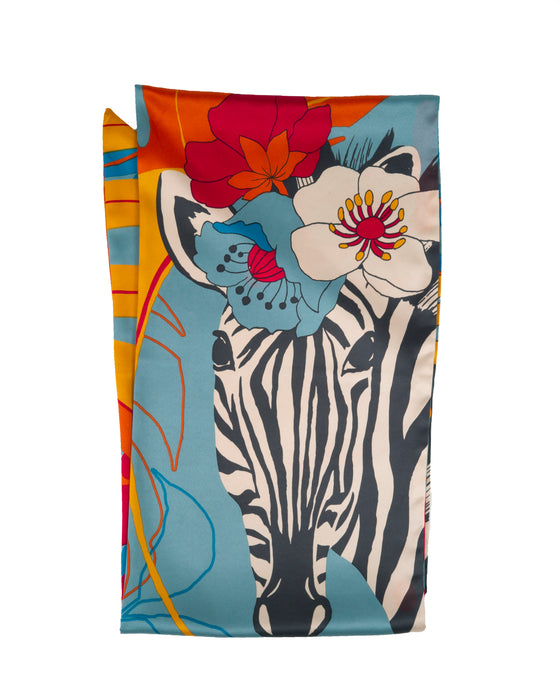 powder design silky soft satin neck scarf measuring 180cm x 24cm features a zebra with blues oranges and pink flowers