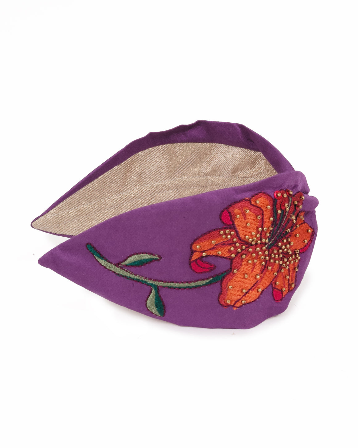 satin modal lilac lily embroidered headband