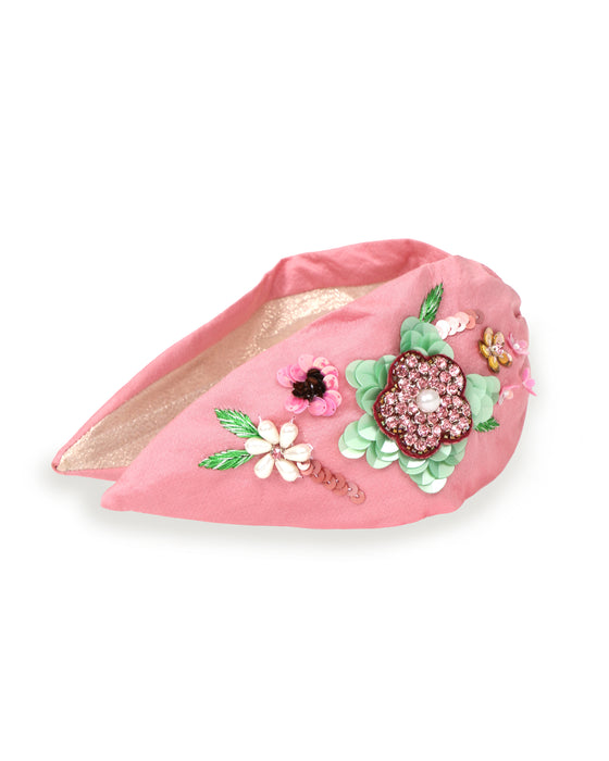 Powder Embroidered Pink Floral Headband