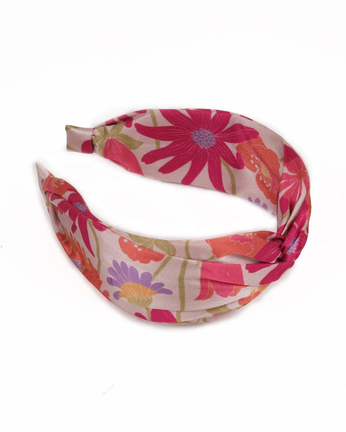 powder design cream headband with red, pink, purple and yellow flowers