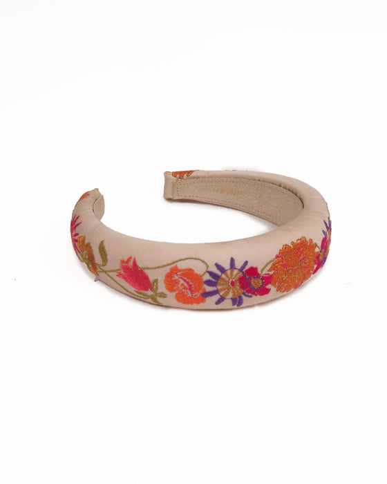 powder design satin cream padded headband with purple, red and coral flowers embroidered on