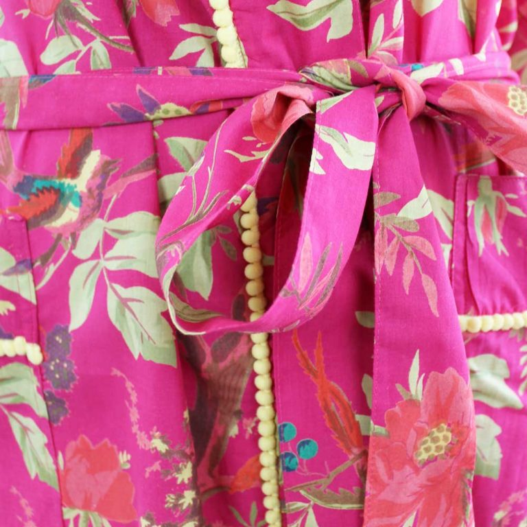 Hot Pink Bird Print Cotton Dressing Gown