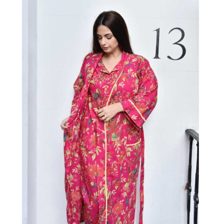 Powellcraft-Hot-pink-bird-print-cotton-dressing-gown