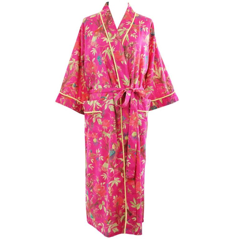 Powellcraft-Hot-pink-birdprint-cotton-dressing-gown