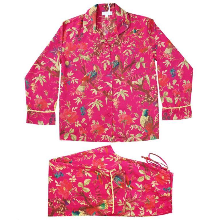 Powellcraft-hot-pink-bird-print-cotton-pyjamas-with-lemon-pom-pom-trim