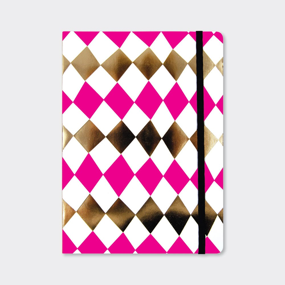 Pink Fizz Diamond Pattern A5 Notebook