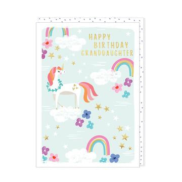 happy birthday granddaughter unicorns and rainbows
