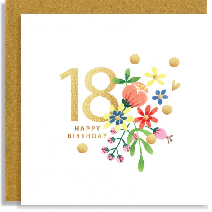 beautiful card with pretty flowers sprinkled with glitter and a gold number 18