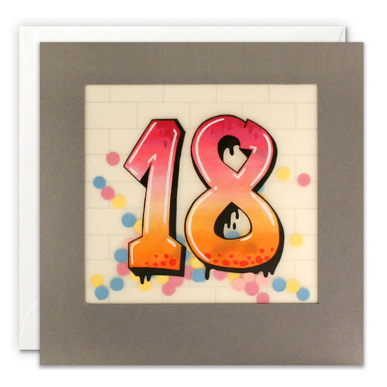 Graffiti Paper Shakies 18 Birthday Card