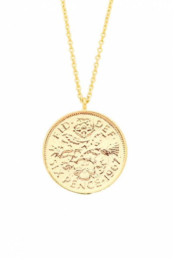 Estella Bartlett Gold Plated Lucky Six Pence Necklace