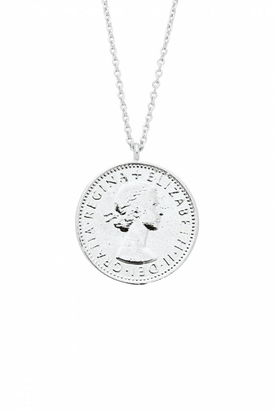 Estella Bartlett Silver Plated Lucky Six Pence Necklace