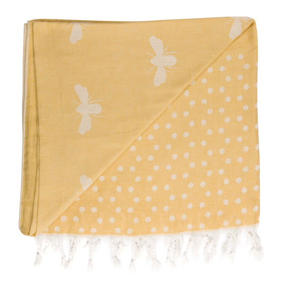 sophie allport bees hammam towel lemong and white