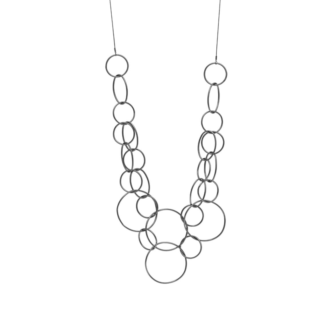 Dansk Multi Circle Hematite Plated Necklace