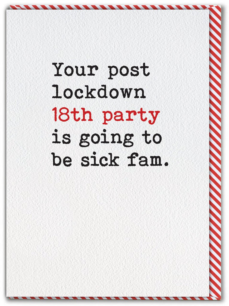 b18th lockdown card with black type copy writing on a white background