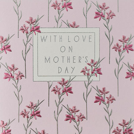 With Love on Mother's day pink foil flowers