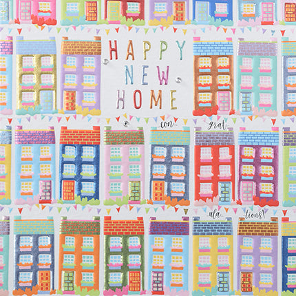 wendy jones blackett new home card with multi coloured houses