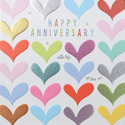 Happy anniversary card with multi coloured hearts Happy anniversary with lots of love