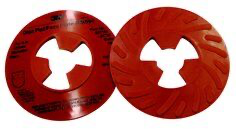 3M(TM) Disc Pad Face Plate Ribbed 81732, 5 in Extra Hard Red, 10