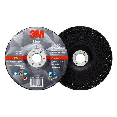 3M(TM) Silver Depressed Center Grinding Wheel, 87450, T27, 6 in x 1