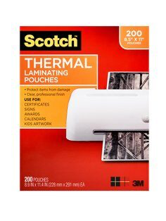 Scotch(TM) Thermal Pouches TP3854-200, 8.9 in x 11.4 in (price is f