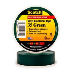 Scotch® Vinyl Color Coding Electrical Tape 35, 3/4 in x 66 ft, G